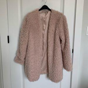 pink fur coat